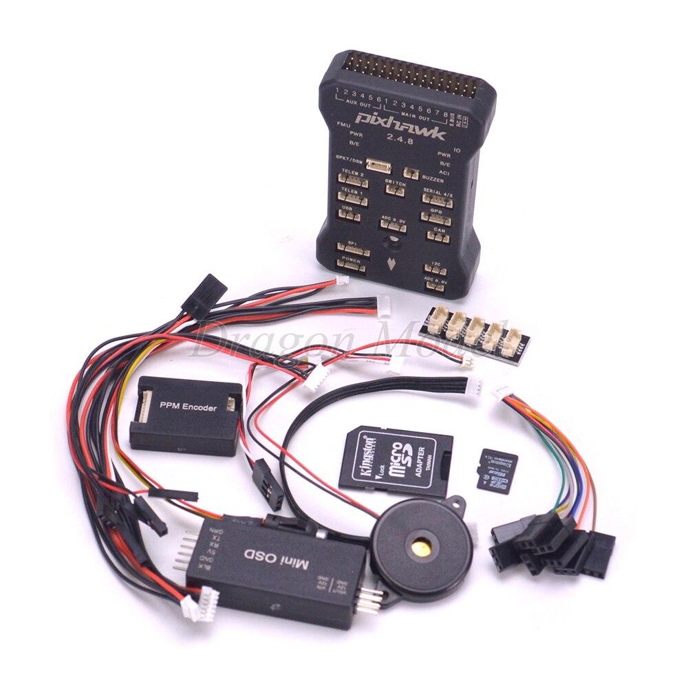 Pixhawk PX4 piloto automático PIX 2.4.8 32 poco controlador de vuelo con interruptor de seguridad y timbre/4 GB tarjeta/PPM /I2C/mini OSD conjunto