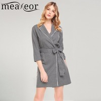 Meaneor Women Casual Home Dress Turn Down Collar 3 4 Sleeve Package Hip Button Sexy Dresses
