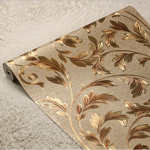 European Luxury Gold Floral Wallpaper 3D Embossed Waterproof Wall Paper Roll Mural Wallpaper Living room bedroom wallpaper