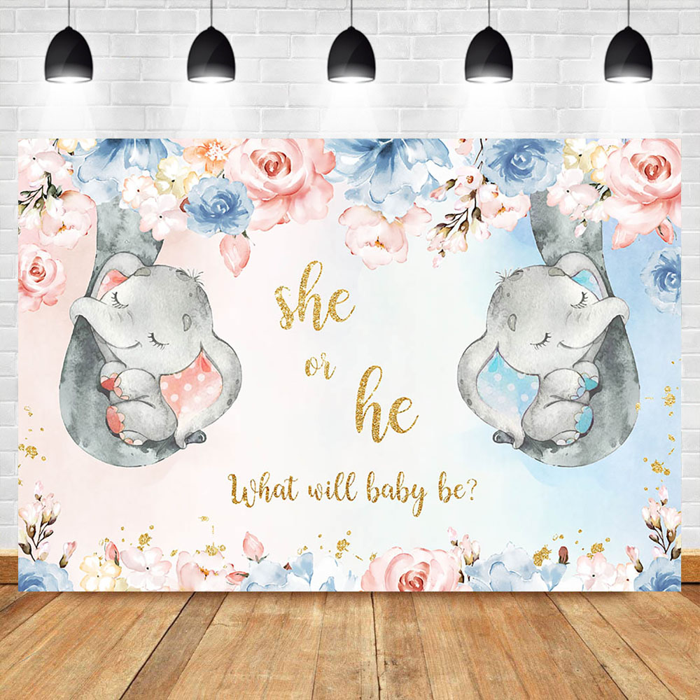Peanut Elephant Gender Reveal Baby Shower He or She Backdrop Blue Pink Grey Wave Boy or Girl Photography Background Photo Banner Custom Text