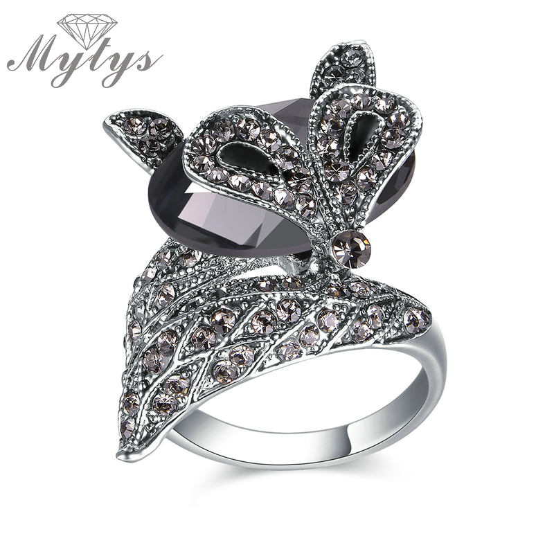28cc64fc92cf42 Mytys Brand Original Design Fox Ring Fashion Animal Ring Marcasite Lady  Jewelry Accessory Gift R1858