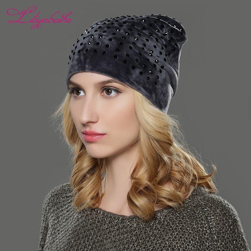 LILIYABAIHE Women Autumn And Winter Hat Ladies Cat Girls Hats For Women   Skullies     Beanies   Fluff Caps Touca new style Caps
