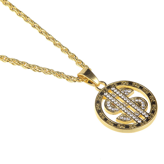US Dollar Sign Micro Pave Rhinestone Necklace 10