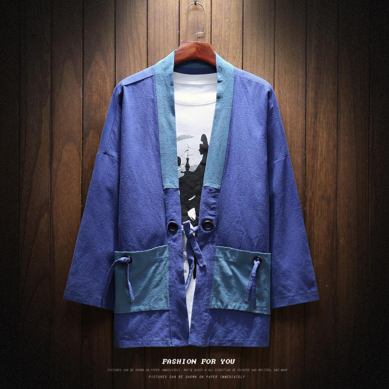 MRDONOO Summer Japanese style kimono robe coat men loose large size seven points sleeve shirt retro Chinese style cardigan 8809