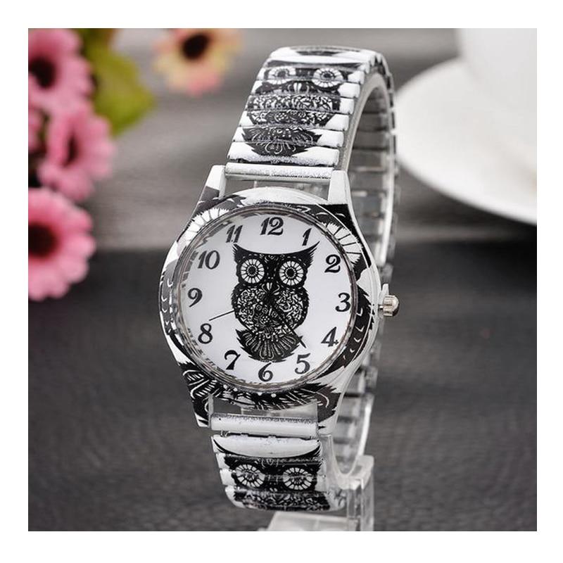 20cm Lovely Owl Quartz Black Watches Women 2019 New Elastic Band Students Sports Watches Fashion Dress Bracelet Watch Wristwatch
