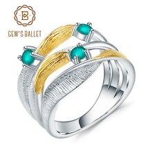 GEMS bale 0.47Ct doğal yeşil akik taşlar yüzük 925 ayar gümüş el yapımı kayış büküm yüzükler kadınlar için güzel takı