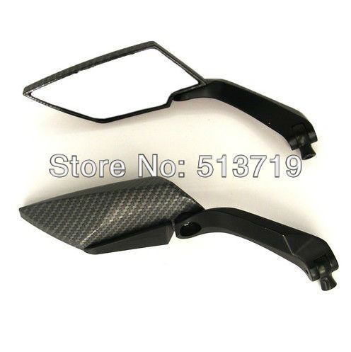 High Quality Diamond Carbon Fiber Black Motorcycle Rear View Side Mirror Motocycle Part