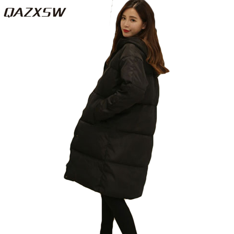 QAZXSW 2017 New Winter Cotton Coats Women Warm Padded Jacket For Girls Parkas Long Plus Size Loose Hooded Jacket  Overcoat HB269 купить