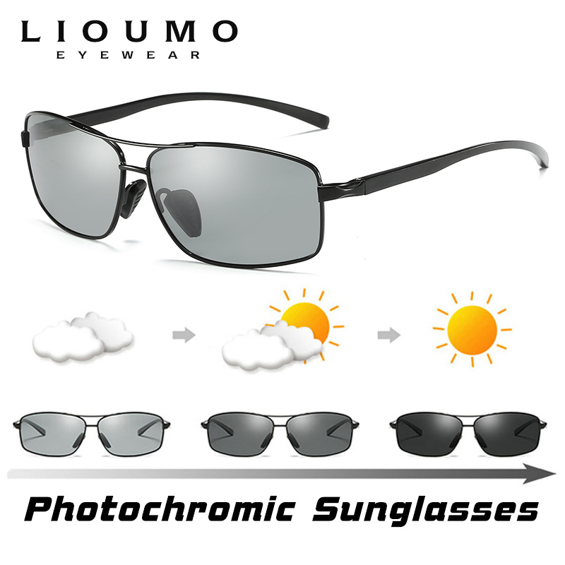 Image 2 - LIOUMO Top Photochromic Sunglasses Men Women Polarized Chameleon Glasses Driving Goggles Anti glare Sun Glasses zonnebril heren-in Men's Sunglasses from Apparel Accessories on AliExpress
