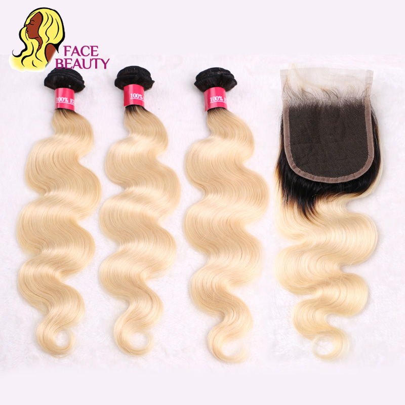 Facebeauty Peruvian Human Remy Hair Ombre Blonde Hair 3 Bundle With 4 4 Lace Top Closure