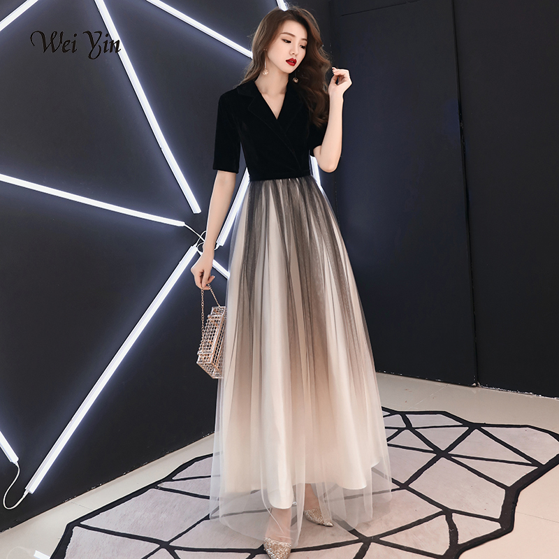 weiyin Black Long   Evening     Dresses   Long 2019 Style Sexy Burgundy A-line Deep V-neck Velvet Special Occasion Party Gowns WY1228