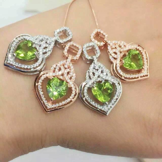 Натуральный камень перидот подвеска Стерлингового Серебра 925 Натуральный оливин Ожерелье модный Повезло капли воды женщины ювелирные изделия