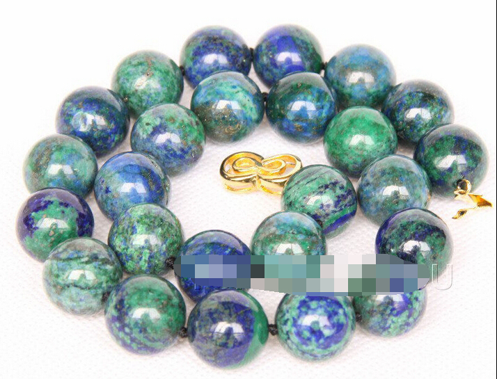 huij 002125 WOW Genuine 16mm round Lapis Lazuli Malachite stone necklace