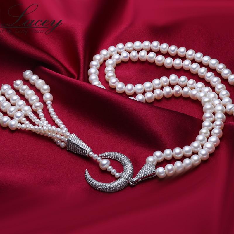 Lacey nouveau collier de perles d'eau douce naturelles de mariage pour les femmes, 90 cm de long grand collier de perles blanches mode de bijoux pour les cadeaux de fille-in Colliers from Bijoux et Accessoires    2