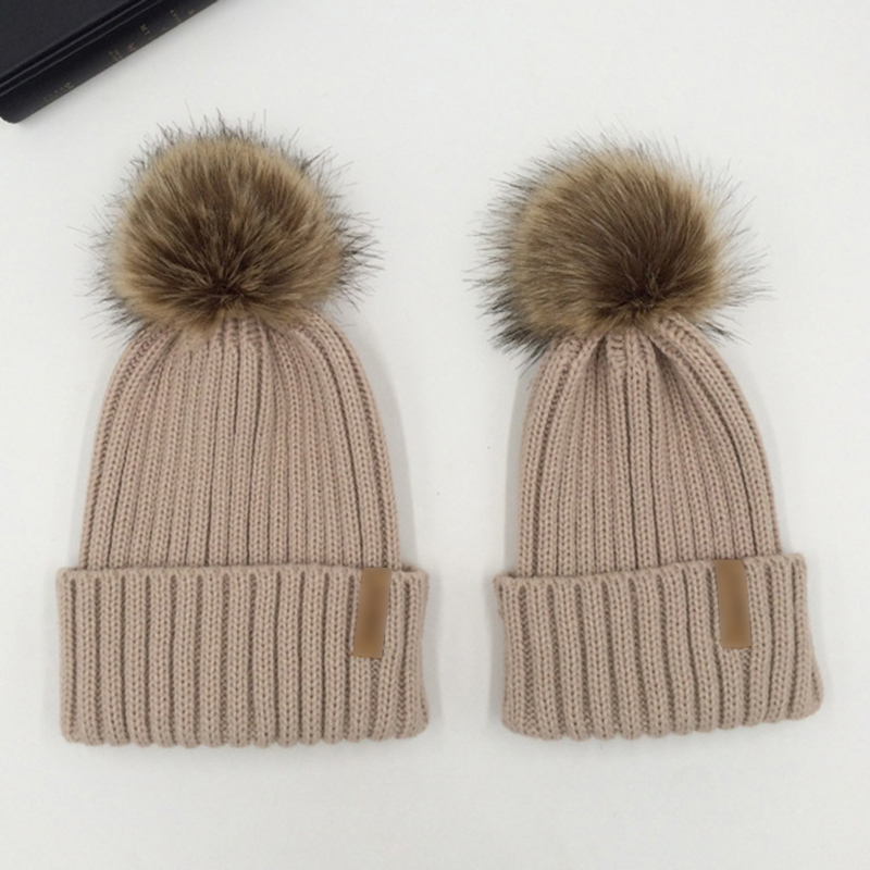 Mom And Kids Knitted Pom Pom Hats For Women Children Winter Wool Warm Faux Fur Pompom Cap Boys Girls   Skullies     Beanie   Hats