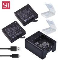 2x1400 мАч xiaoyi 4k Батарея AZ16-1 + USB двойной Зарядное устройство для Xiaomi Yi 4k 2 Батарея Оригинал Сяо Mi Yi Lite действие Камера