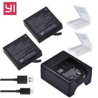 2x1400mAh xiaoyi 4K Battery AZ16-1 + USB dual Charger for Xiaomi Yi 4K 2 Battery Original Xiao Mi Yi Lite Action Camera