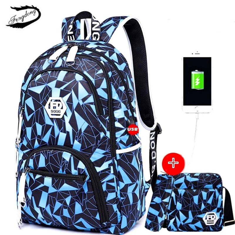 FENGDONG 3PCS/set Men USB Backpack Oxford Printing School Bag For Teenage Boy Pencil Case Male Travel Small Shoulder bag Mochila custom photo wallpaper high quality wallpaper personality style retro british letters large mural wall paper for living room