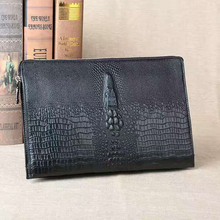Crocodile pattern Genuine Cow Leather Male Clutch Bag Casual Style Men's Wallet Black  Brand Men's Handbag #L153