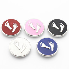 Hot selling Mix 20Pcs/lot footprint 18mm Alloy Snap Buttons For DIY Bracelet Necklace Women Fashion Jewelry