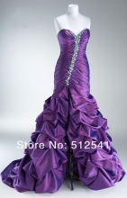 Actual Images Prom Dresses Front Spilt Ball Gown Sweetheart Taffeta Beads Ruffle 2013 women Ceremony MK08L07