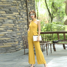 Women Summer Yellow Jumpsuit High Street Rompers Chiffon Elegant Party Full Length Wide Leg Jumpsuits Plus Size 3XL 4XL 2019 women summer jumpsuit party overalls rompers chiffon high street elegant gray color full length jumpsuits plus size 3xl 4xl