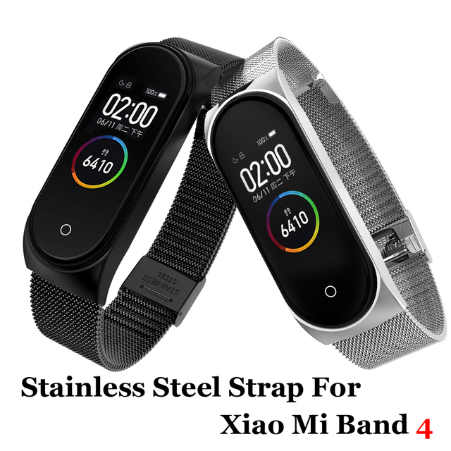 Metal kayış bilezik Xiaomi Mi Band için 4/3 kayış Xiaomi Mi Band için 4/3 kayış paslanmaz çelik MiBand 4/3 bilek bant kemer