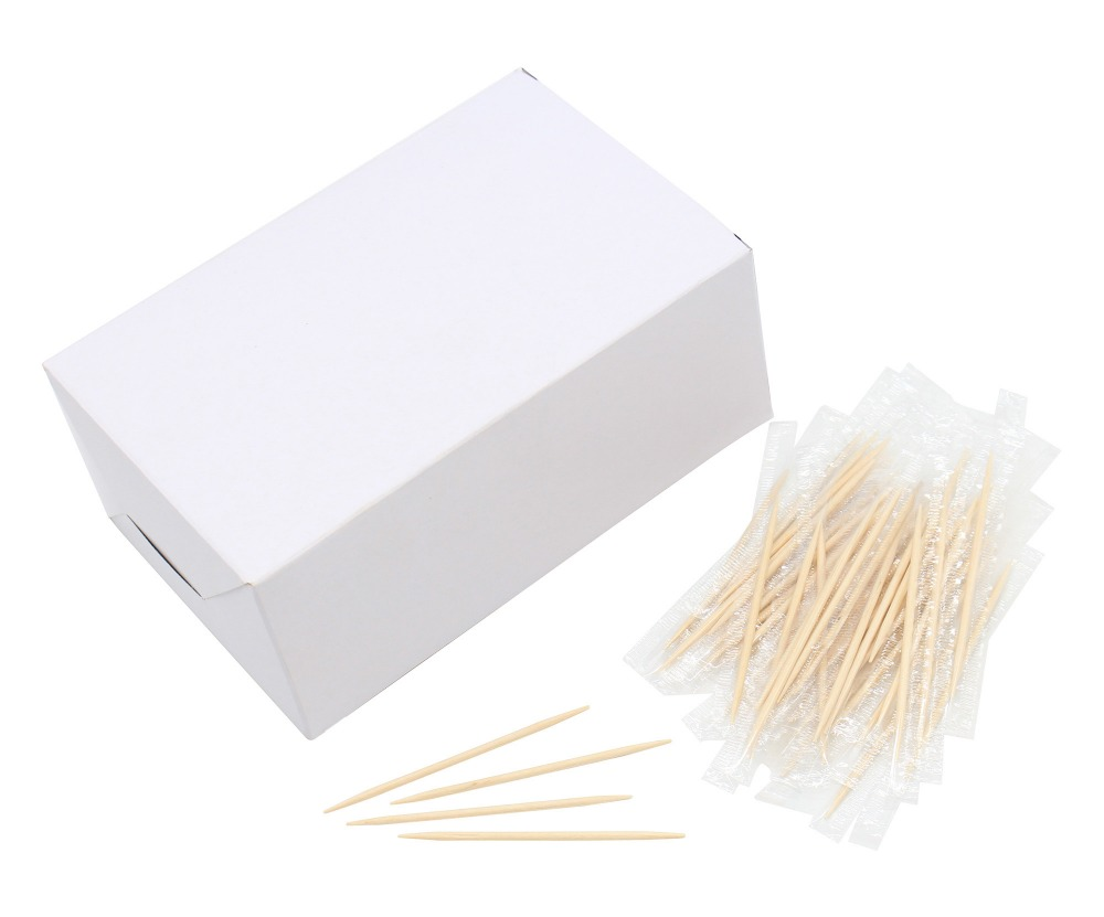 Wooden Disposable Individual Cello Wrapped Toothpicks, Package of 1000