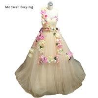 Romantic Champagne Ball Gown Sweetheart Flowers Evening Dresses 2017 Formal Women One Shoulder Party Prom Gowns vestido de festa