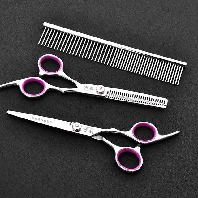 Professional Pet Dog Grooming Scissors 6.0 inch Hair Cutting + Thinning + Curved Shears 4CR Straight Scissors 4 PCS Set + Bag