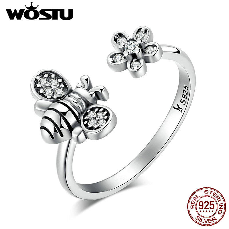 WOSTU Authentic 100% 925 Sterling Silver Bee & Daisy Adjustable Open Rings For Women Wedding Jewelry Gift CQR086