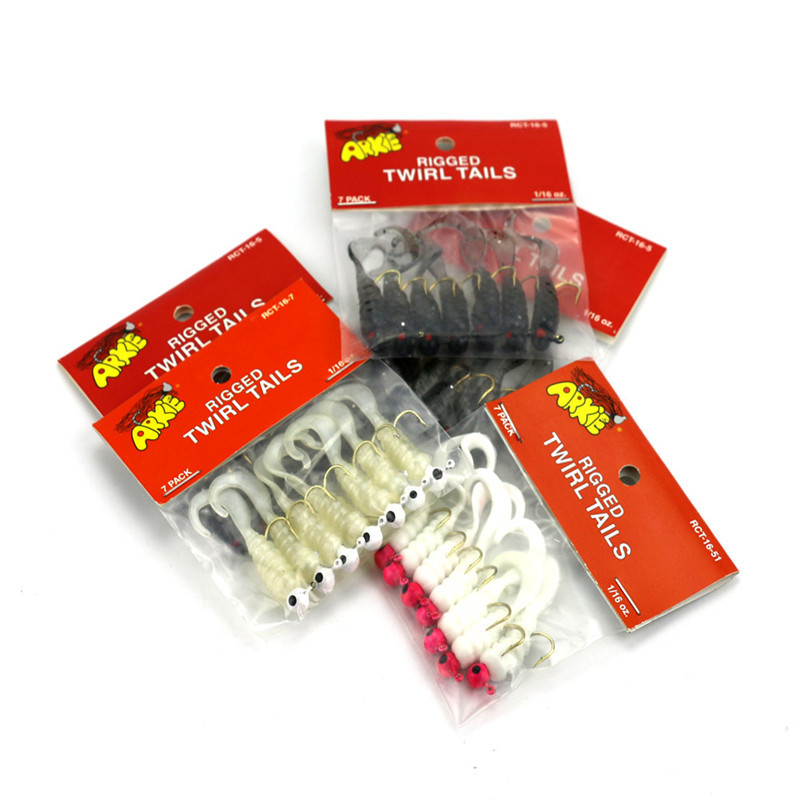 Hot Sale 7PCS/LOT Fishing Jigs Lure Sea Bass Soft Bait Jig Head Twirl Tails Worm Baits Fishing Tools Accessories YE-191