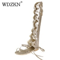 2014 New Fashion Women Gold Silver Cross Straps Flat Heel Knee High Gladiator Sandals Sandalia Gladiadora