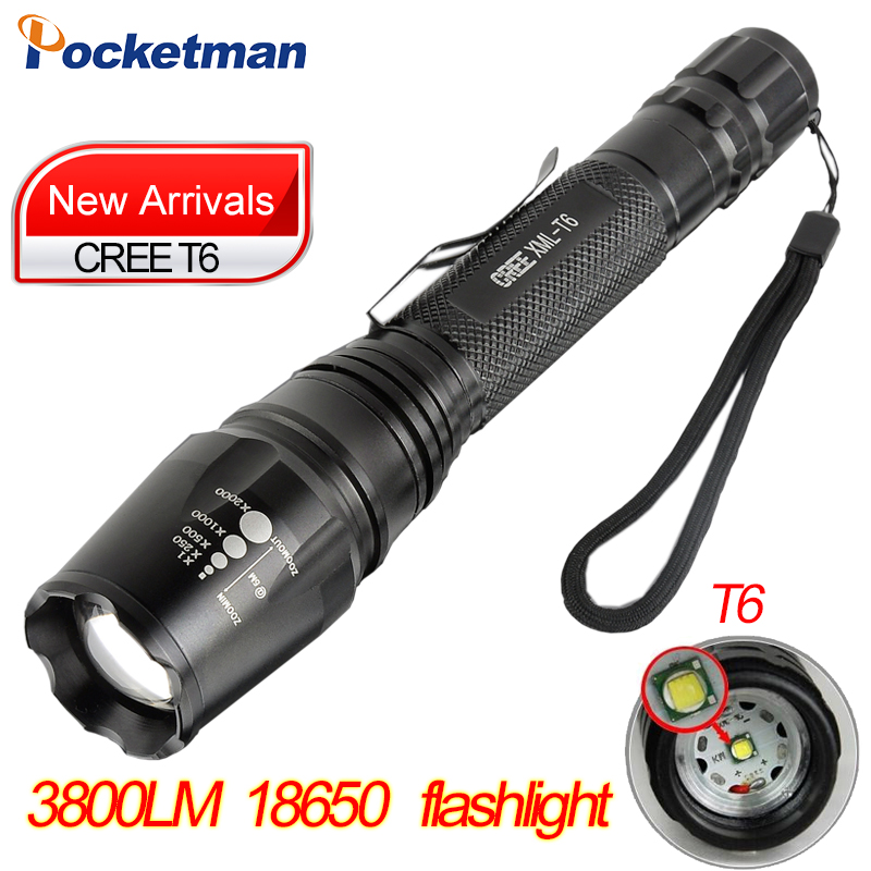 CREE XM-L T6 Led Flashlight 3800Lumens Led Torch Zoomable Waterproof Tactical self defense Flashlight for 2x18650 Camping Hiking flashlight led cree xm l2 light 3800 lumens 26650 battery outdoor camping telescopic zoom self defense powerful led flashlight