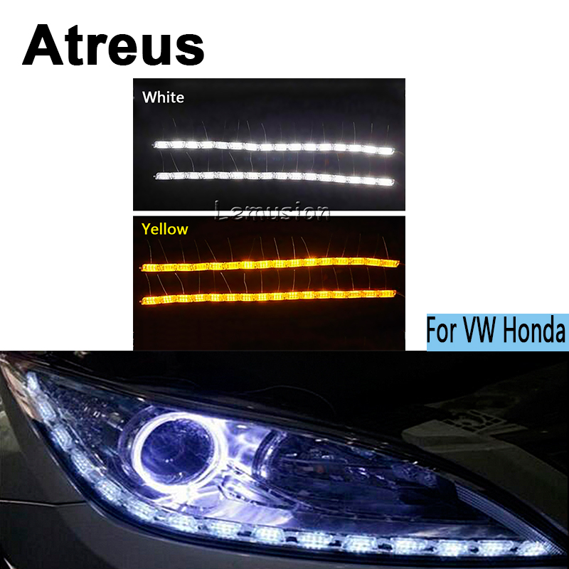 Atreus 2X Car LED Crystal water lamp DRL Daytime running light 12V For Volkswagen VW Polo Golf 4 5 6 7 Passat B5 B6 Touran Honda wljh 2x canbus led 20w 1156 ba15s p21w s25 bulb 4014smd car lamp drl daytime running light for volkswagen vw t5 t6 transporter