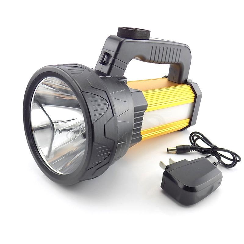 купить T6 COB Portable Flashlight Rechargeable Hand Torch Lamp LED Light Build-in Battery High Power Usb searchlight Outdoor Lanterna по цене 1897.81 рублей