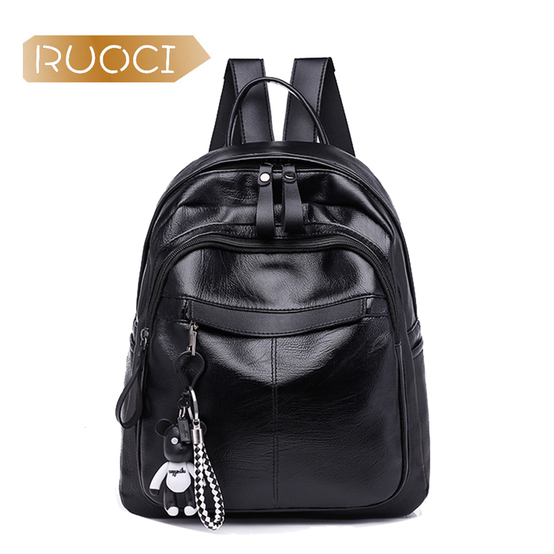 RUOCI Для женщин кулон черный рюкзак мешок Grils приятно кожа PU Вечерние хозяйственная сумка школьников книга сумки