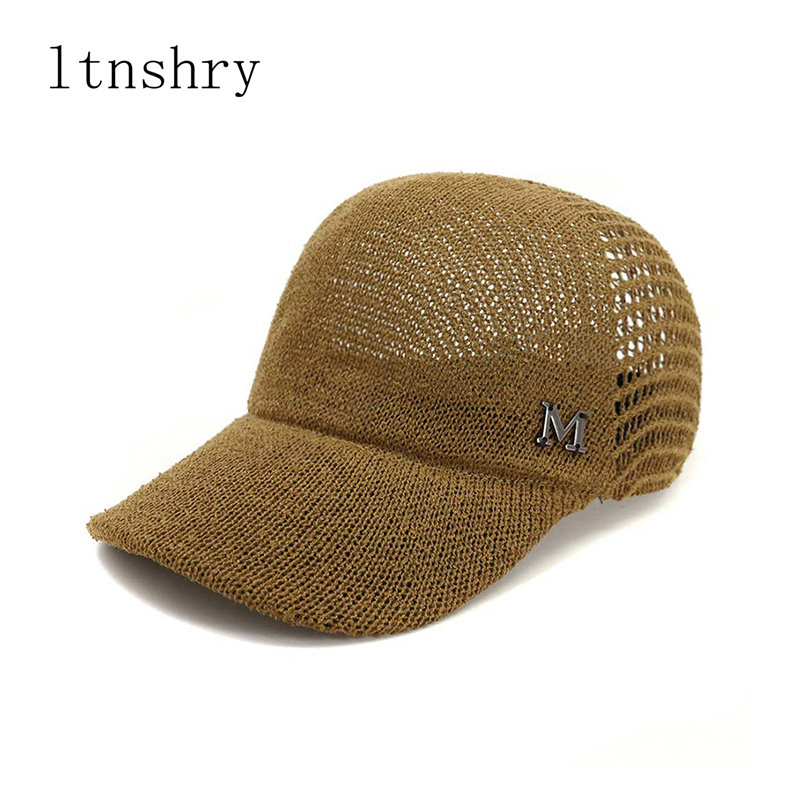 2019Summer Women Solid Color Summer Hats Breathable Letter M Hollow Out Baseball Caps Casual Outdoor Sports Cap Casequette Mujer