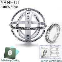 YANHUI Certified Jewelry Original 925 Silver Astronomical Ball Ring Couple Lover Gift Complex Rotating Armillary Sphere Ring R77