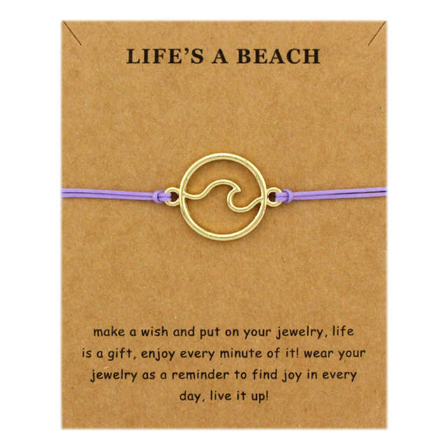 New Fashion Summer Ocean Style Beach Sea Wave Spray Jewelry Make a Wish  Silver Gold Wave Charm Women Bracelets for Women