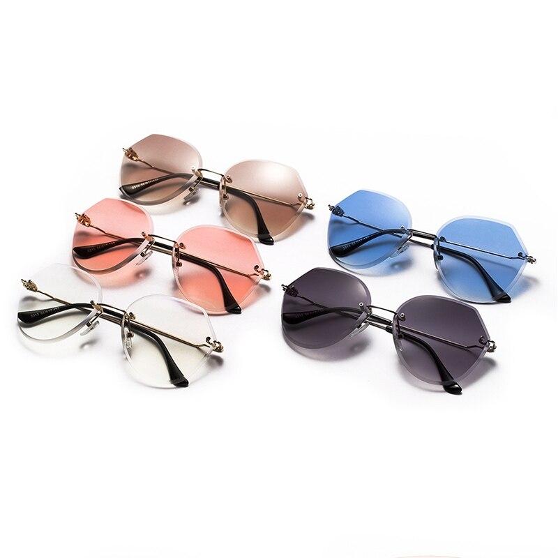 8bc7103fa83af Venda quente Retro Mulheres Sem Aro óculos de Sol Marca de Luxo Designer  Polígono Vidros De Sol Moda Feminina Óculos de Diamante De Corte