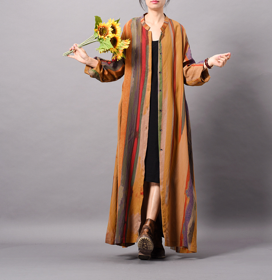 Women Spring spun silk yarn Loose Trench Coat Thin Ladies Simple Patchwork Coat Outerwear Long Overcoat