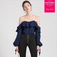 Korean version 2018 summer new strapless chiffon shirt blouses female lantern sleeves bow mesh stitching loose ruffled shirtL565