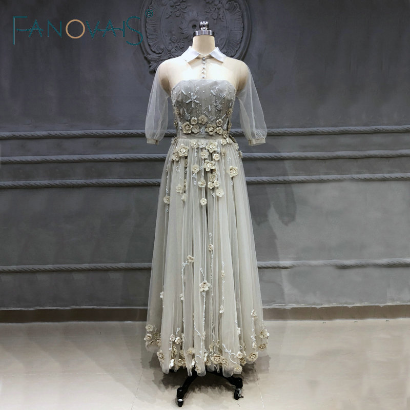 2018 Embroidery Prom Dresses Plus Size Party Gowns Vestidos De Fiesta Largos Elegantes De Gala Azul Vestidos De Gala Manga Larga