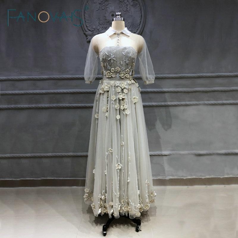 2019 Embroidery   Prom     Dresses   Plus Size Party Gowns Vestidos De Fiesta Largos Elegantes De Gala Azul Vestidos De Gala Manga Larga
