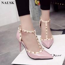 e5aa60a9a28d NAUSK Pompe 2018 pattini delle Donne di stile di Estate CALDA sandali  femminili di moda decorazione In Metallo rivetto cuoio del.