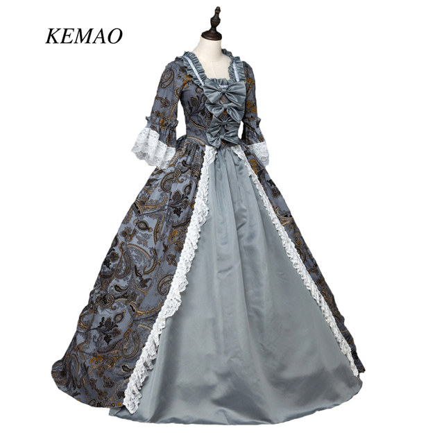 e8844bac2fd 2018 Top One Piece KEMAO Victorian Costume Women s Dress Masquerade Party  Costume Gray Vintage Cosplay Satin Long Sleeves