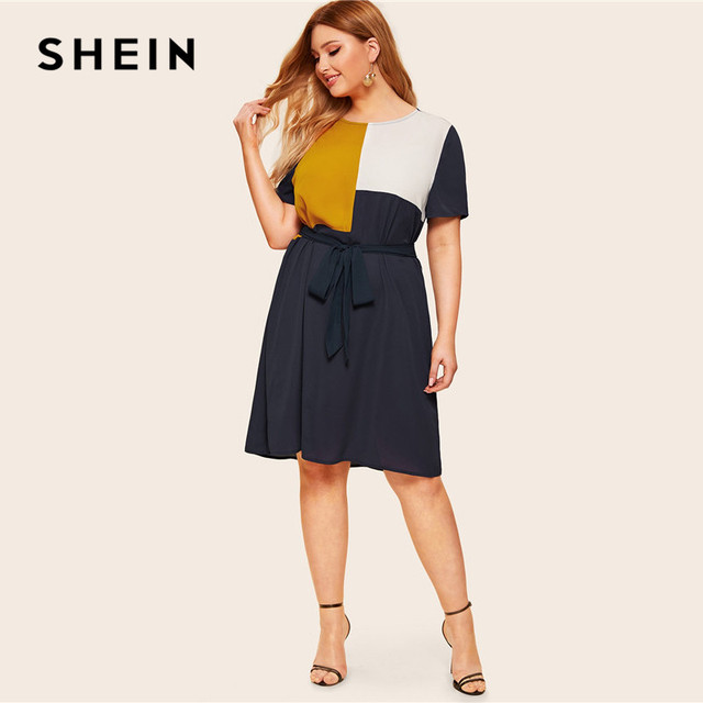 SHEIN Plus Size Waist Belted Color Block Dress Women Summer Tunic Short Sleeve Keen Length Casual Plus Shift Dresses With Belt