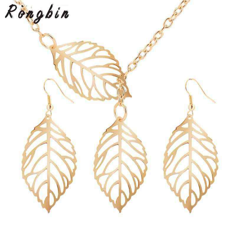 2017 New African Beads Jewelry Sets Fashion Set Lifting The Leaves Hollow Dangle Drop Earrings Necklace Jewelry Sets Nice Gift