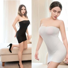 Hip-Dress Night-Club-Wear Strapless Sexy Mini Striped Package Fantasy Transparent Skinny